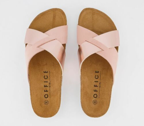 Womens Office Soho Cross Strap Sandals Nude Suede Rose Gold Mix Sandals