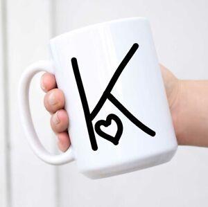 K Love Hearts Initial Monogram Letter K Ceramic Mug Coffee Cup