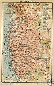1900 LIVERPOOL England ANTICA MAPPA Old Map - Italia - 1900 LIVERPOOL England ANTICA MAPPA Old Map - Italia