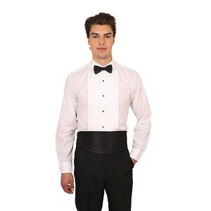 Men's White Laydown Collar 1/4  Pleat Tuxedo Shirt