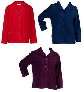 acbfd067c1 Slenderella Womens Button Up Bed Jacket Anti Pill Fleece Satin Trim ...