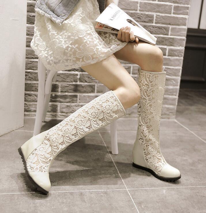 Women's Lace High Top Knee High Boots Zip Summer Weddge Hidden Heel Sweet shoes