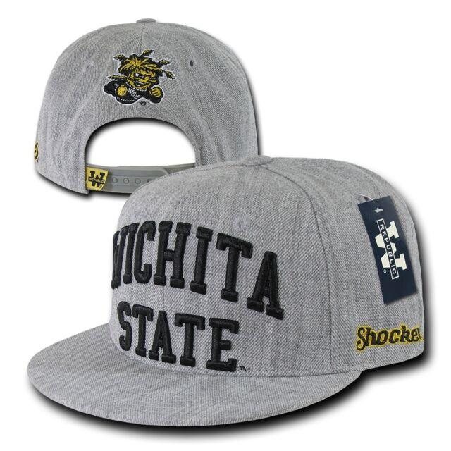 Wichita State University WSU Shockers NCAA Fitted Flat Bill Baseball Cap Hat