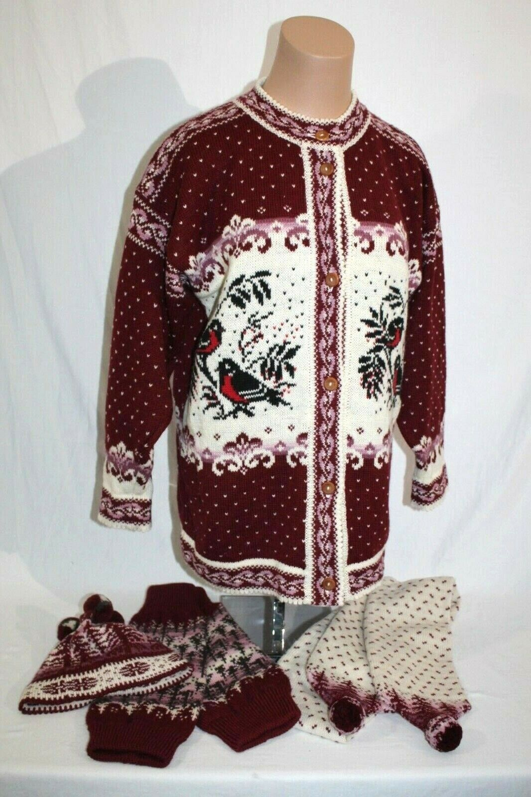 ESTONIA Wool Cardigan Sweater Set,Hat,Scarf,Leg Warmers Womens-XL Birds 4-pc