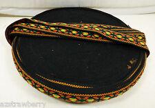 "Spool Woven Jacquard Tappestry Ribbon Trim Cotton Black Orange green 5/8"" Wide"