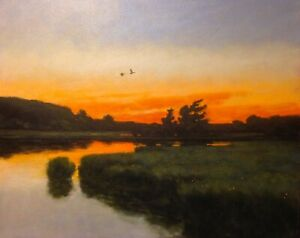 Lrg 24x20 Ducks Twilight Marsh Impressionism wetlands Landscape Art Oil Painting