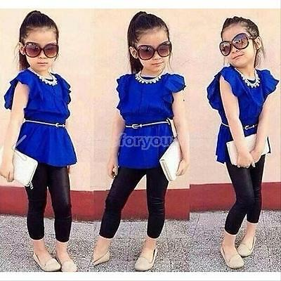 New Baby Girls Short Sleeve T-shirt +Pants Set Clothes Kids Summer Outfits 2-6Y