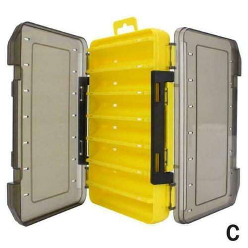 12//14 compartments Fishing Tackle Box Double-sided Lure Fishing Case Bait V8W0