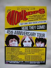 The MONKEES/Davy Jones/Micky Dolenz 45th Anniversary Tour 2011 RARE promo flyer