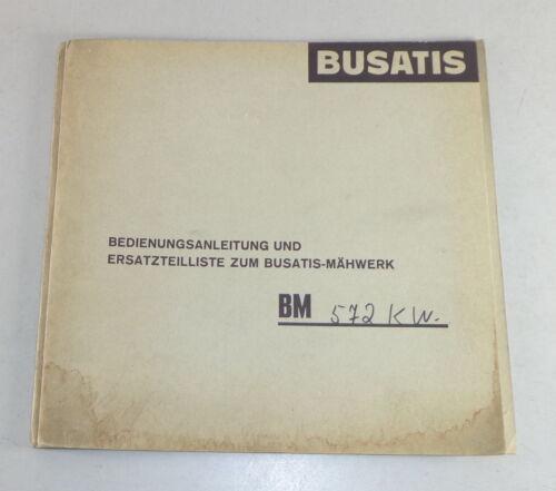 Teilekatalog Ersatzteilliste Busatis Mähwerk BM 572 KW