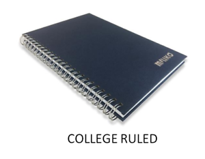 RULED MILIKO A5 BLUE KRAFT PAPER HARDCOVER SILVER BINDING RINGS ONE NOTEBOOK