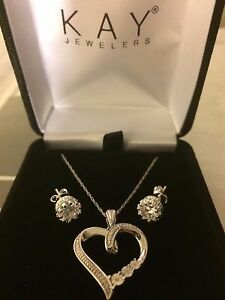 New Kay Jewelry Diamond Necklace Earrings Jared Zales Heart