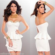 Bandeau Minikleid Schößchen Kleid Kegel Nieten Abendkleid Festkleid 34 36 Weiß