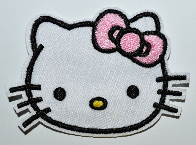 100x Lovely Hello Kitty Pink bow-tie Fabric Patches Iron On Embroidered Applique