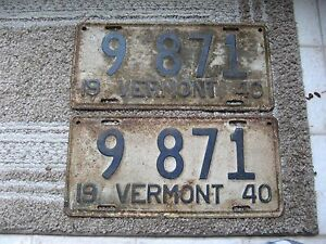 1940-40-VERMONT-VT-LICENSE-PLATE-NICE-RUSTIC-TAG-NICE-NUMBER-BUY-IT-NOW-PAIR