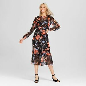 c2beb815ea80 ✅NEW! Women s Flowy Midi Dress - Who What Wear Winter Floral ...