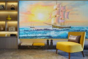 3D Sun Boat 657 Wallpaper Murals Wall Print Wallpaper Mural AJ WALL AU Lemon
