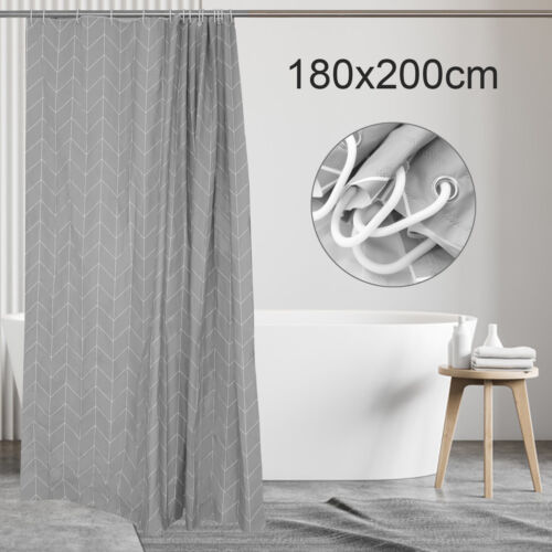 Modern Waterproof Geometric Bathroom Shower Curtain With Hooks Long 180 x 200cm