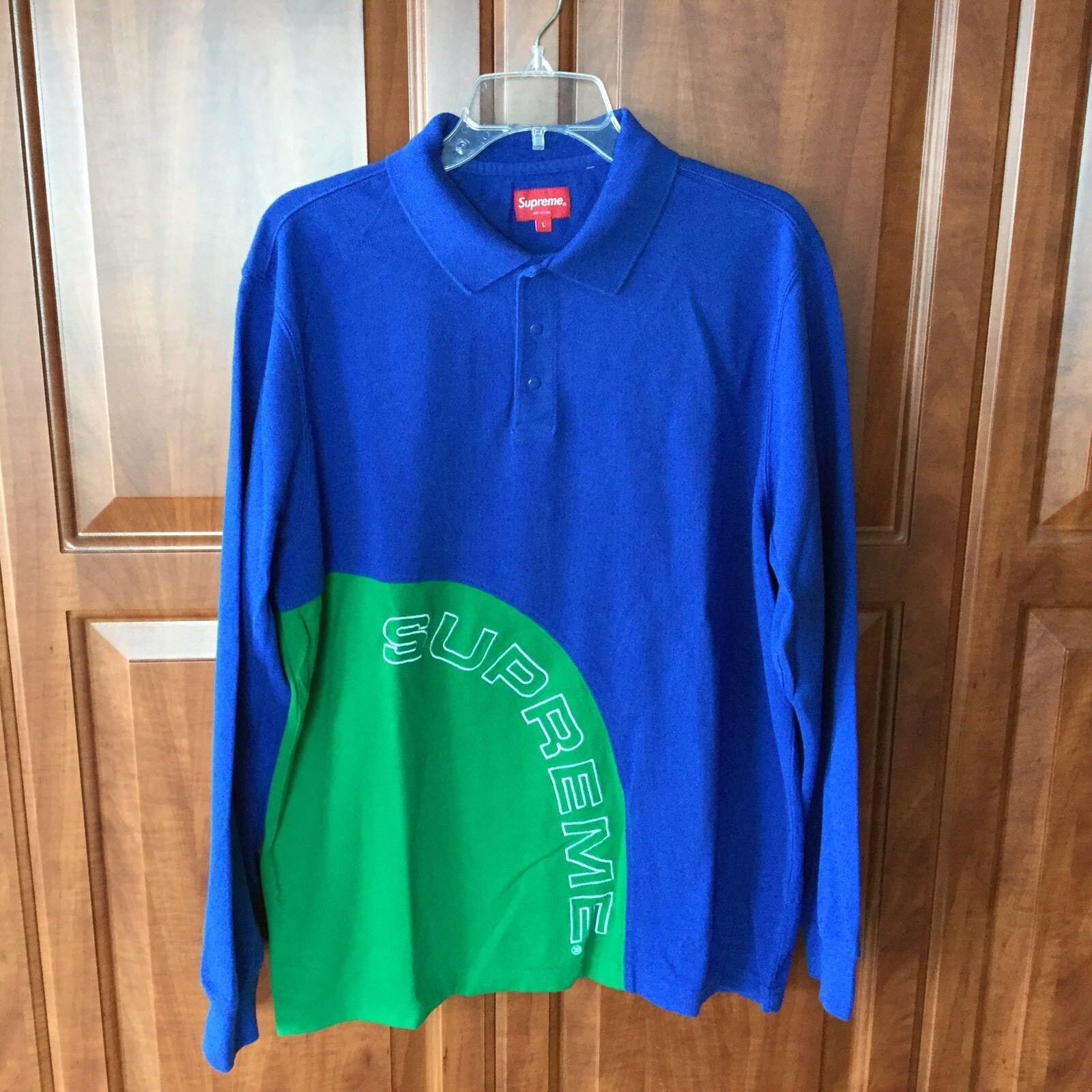 Supreme Corner Arc Blau Grün Three Snap Button Large Pullover SS18 Sold Out