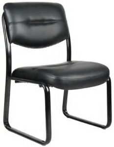 Boss Black Leather Guest Chairs Leatherplus Office Task Lobby