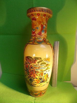 "EXTRA LARGE CERAMIC VASE-*SUPER SALE*-JAPANESE SCENERY-18"" TALL- *LIQUIDATION*"