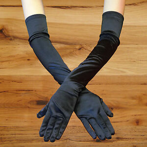 """23/"""" GREEN LONG STRETCH SATIN BRIDAL WEDDING COSPLAY PARTY COSTUME OPERA GLOVES"""