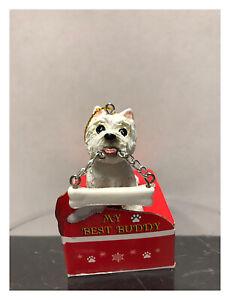 E S Pets My Best Buddy Westie With Bone Christmas Ornament Ebay