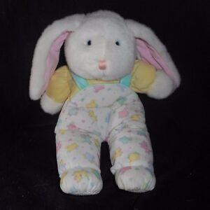 Vintage Eden Bleu Layette Rose Green Lamb Bunny Rabbit Animal En Peluche Jouet