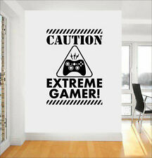 Gaming Quote Extreme Gamer Door/Wall art sticker/Decal Boys/Man Cave