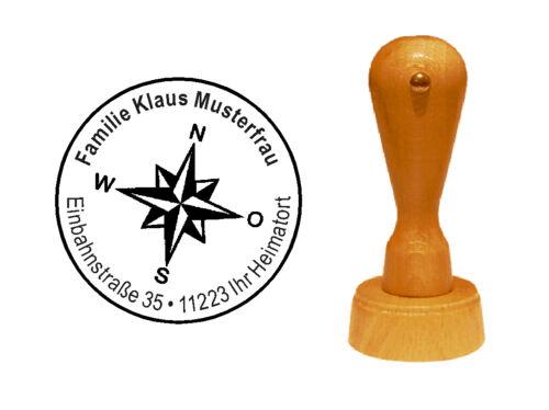« KOMPASS » Adressenstempel Motivstempel Stempel Holzstempel Windrose