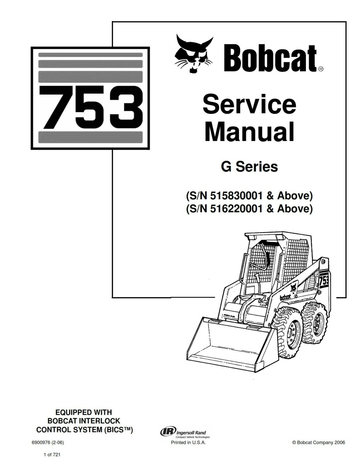 Bobcat skid steer 753g 753 service manual book 6900976 ebay fandeluxe Choice Image