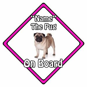 Personalised-Dog-On-Board-Car-Safety-Sign-Pug-On-Board-Pink