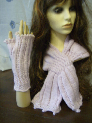 Three Keyhole Scarves /& Mittens Knitting Patterns Autumn Collection