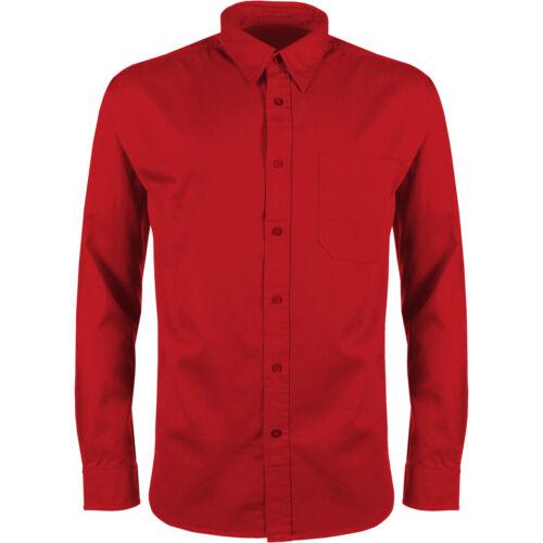 New Mens Long Sleeve Shirt Twill 100/% Cotton Button Up Work Plain Dress Top