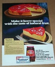 1977 print ad page - Kraft Foods strawberry jam jelly Berry Cheesecake recipe AD