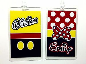 DISNEY Luggage Tags - Personalized MICKEY MOUSE & MINNIE MOUSE (Set of 2 ) NEW