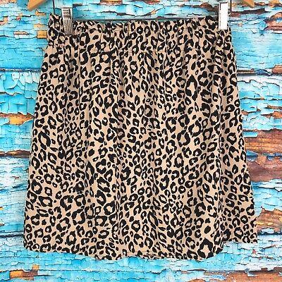 United Mi Ami Medium Skirt Elastic Waist Animal Print Black Tan Skirts