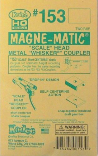 "/""Scale/"" Metal Magne-matic Coupler Kadee HO Scale #153 /""Whisker/"" Short 1//4/"""