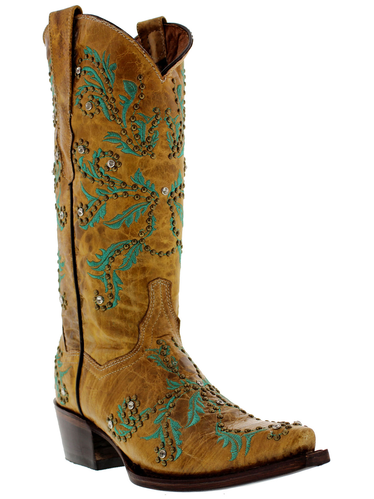 Womens Distressed Sand Leather Studded Fashion Cowgirl Boots Snip Toe