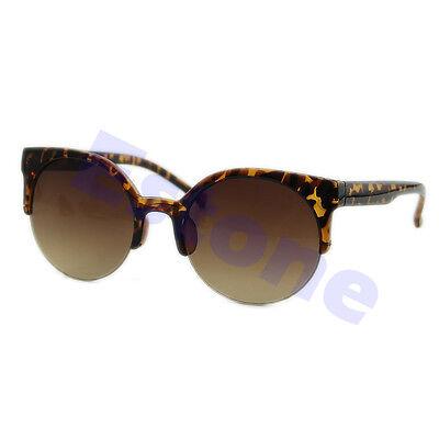 Fashion Unisex Oversized Vintage Retro Cats Eye Sunglasses Black Round Designer