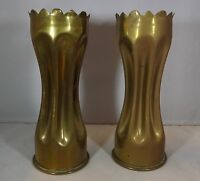 PAIR OF FIRST WORLD WAR TRENCH ART BRASS VASES FROM SHELL CASINGS WW1