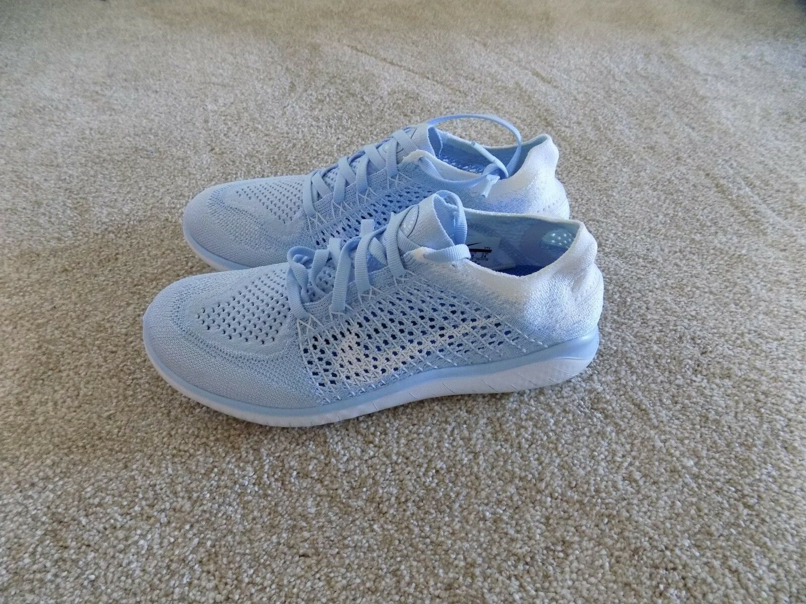 NEW WOMENS 7 8 8.5 9 NIKE FREE RN FLYKNIT 2018 RUNNING SHOES WHITE blueE 942839