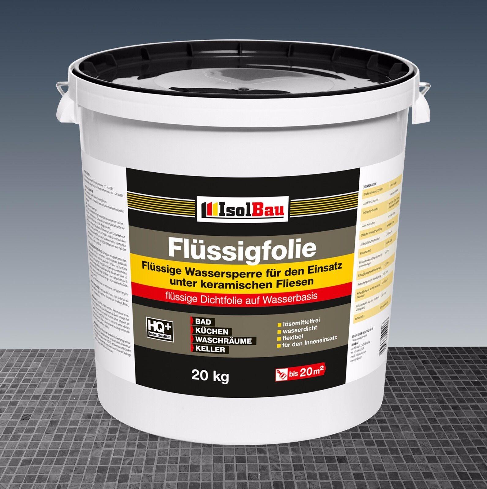 Flüssigfolie 20 kg Dichtfolie Duschelement Sanitärabdichtung Streichfolie Dusche