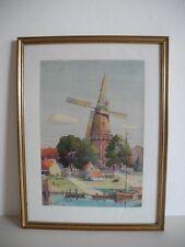 Aquarell Norddeutsch Windmühle an Küste mit Booten A. Eberle dat. (19)42