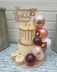 Details about BALLOON CAKE TOPPER ROSE GOLD CONFETTI BRIDE BIRTHDAY WEDDING  ENGAGED GARLAND