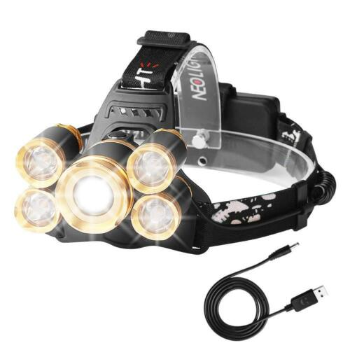 Luz Frontal Súper Brillante Recargable Impermeable 4 Modo de Linternas Frontales