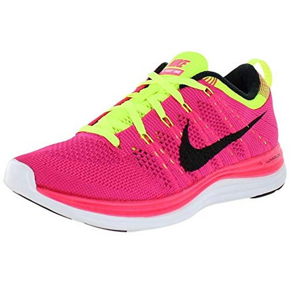 Women's Nike Flyknit One+ Pink Flash Black Fireberry running training 554888-606