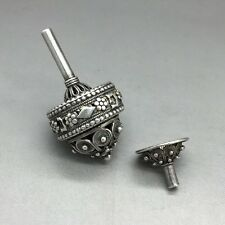 Collectors Hanukkah 925 Sterling Silver Dreidel Filigree Design With Base-Stand