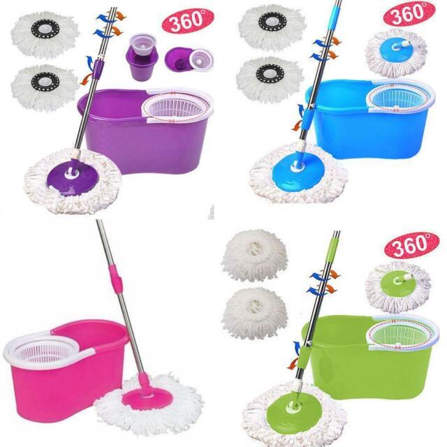 Floor Mop Microfiber Spinning Easy Magic Spin Mop W//Bucket 2 Heads rotative 360 °