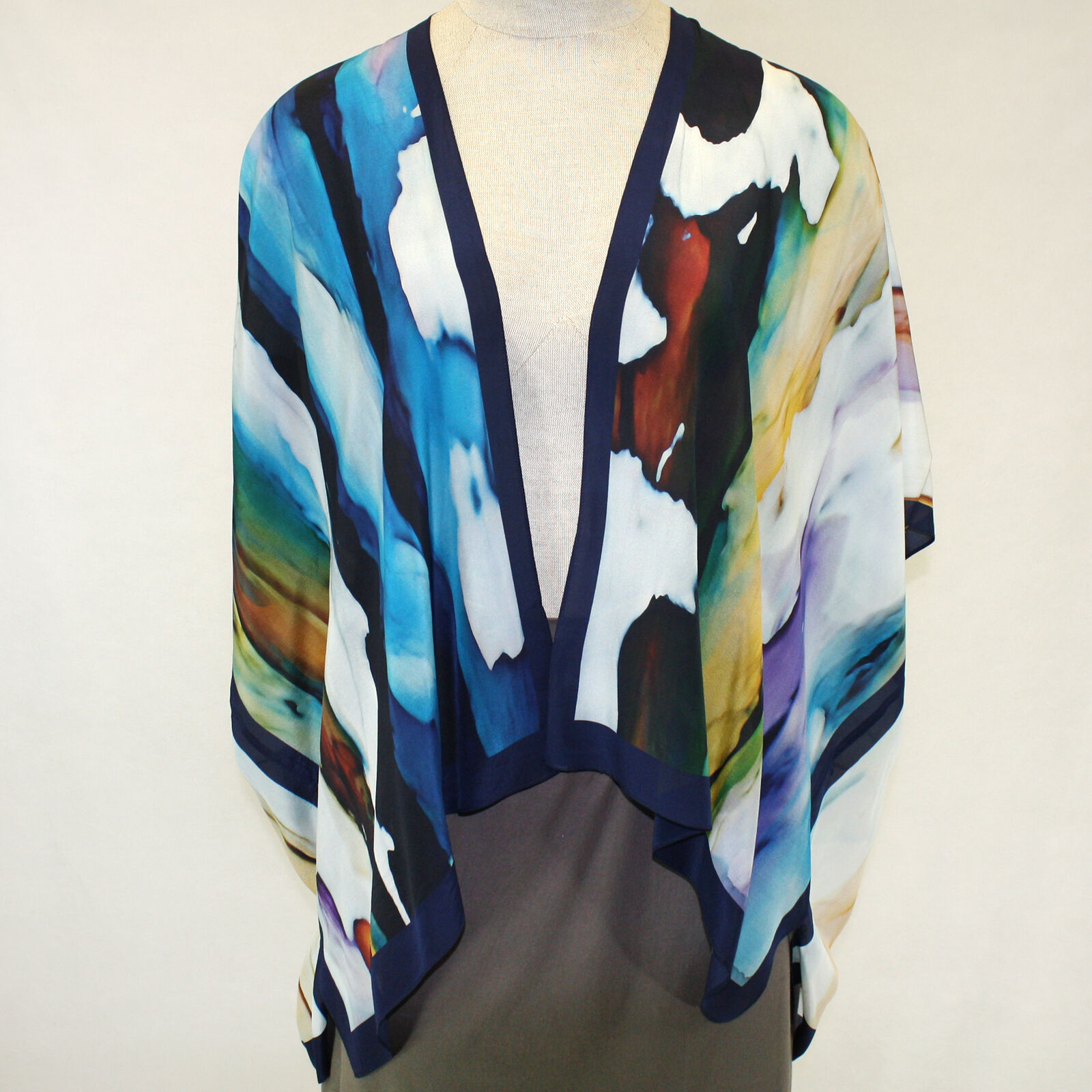 NEW NWT Cocoon House Wearable Art Print 100% Silk Kimono Top Large XL (1X, 2X)